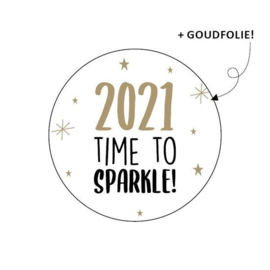 Sticker / Sluitsticker '2021 Time to sparkle !' (Rond 40mm)  10 stuks €0,99