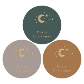 Sticker / Sluitsticker (Rond  - 55mm) 'Merry Christmas' (9 stuks €0,95)
