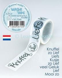 "Leane Creatief Washi tape Dutch sentiments 2. ""Knuffels"""