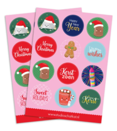 Stickervel  | Kerst (A5) Studio schatkist   12 ronde stickers 40mm