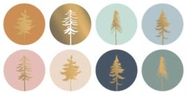 Sticker / Sluitsticker 'Lovely trees Kerst 2020' (Rond 50mm)  8 stuks €0,79