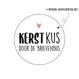 Sticker / Sluitsticker 'Kerst kus door de brievenbus' (Rond 40mm) 10 stuks €0,99