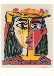 Pablo Picasso - Vrouw met versierde hoed en bedrukte blouse 1962