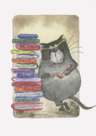Gisela Herberger - Kat met boekenstapel