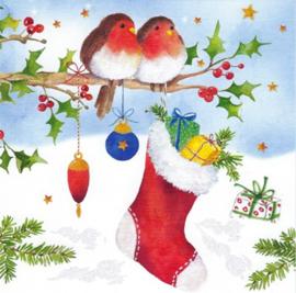 Carola Pabst - Roodborstjes met kerstsok