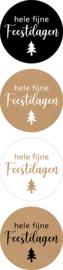 Sticker / Sluitsticker (Rond 35mm) Hele fijne feestdagen (8 stuks €0,80)