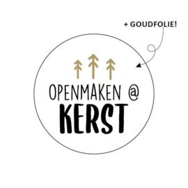 Sticker / Sluitsticker 'Openmaken @ kerst' (Rond 40mm)  10 stuks €0,99