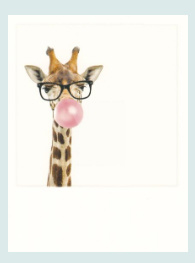 PolaCard - Giraffe with bubblegum
