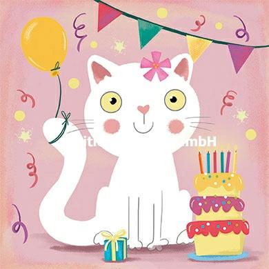 Julia Reyelt - Kat met verjaardagtaart
