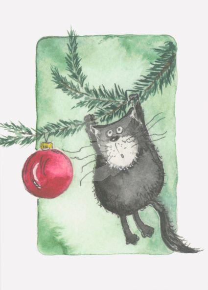Gisela Herberger - Kat in de kerstboom