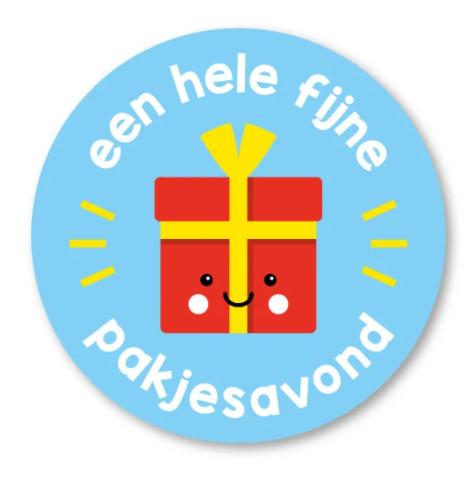 Sticker / Sluitsticker Een hele fijne pakjesavond (Rond 40mm) Studio schatkist 5 stuks voor €0,80
