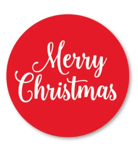 Sticker / Sluitsticker Merry Christmas (Rond 40mm) Studio schatkist 5 stuks voor €0,80