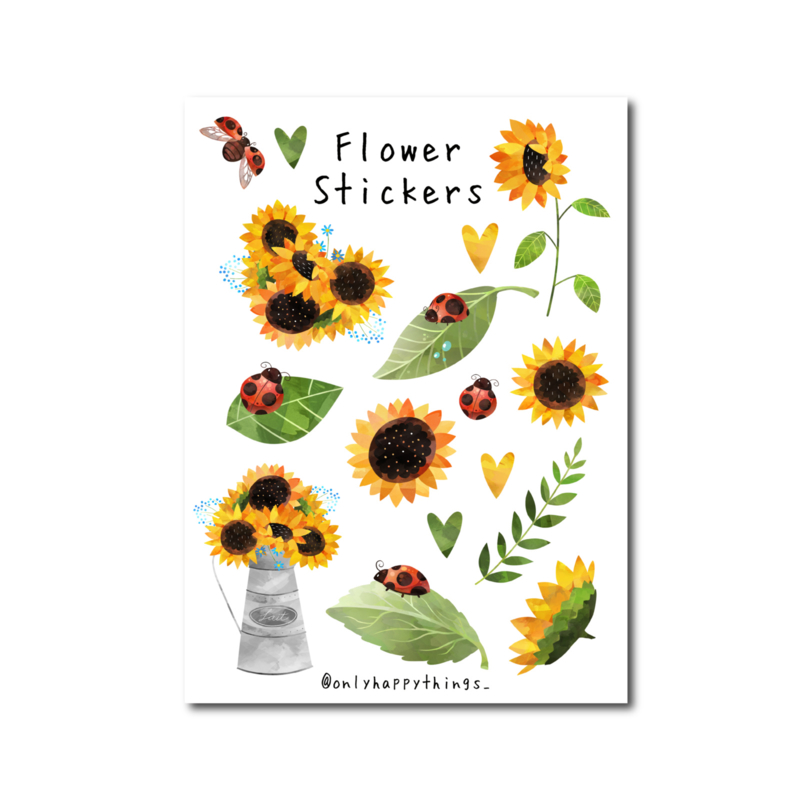 Stickervel Only Happy Things - Zonnebloemen  A5