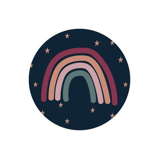 Sticker / Sluitsticker 'Regenboog + sterren' (Rond 40mm)  10 stuks €0,99
