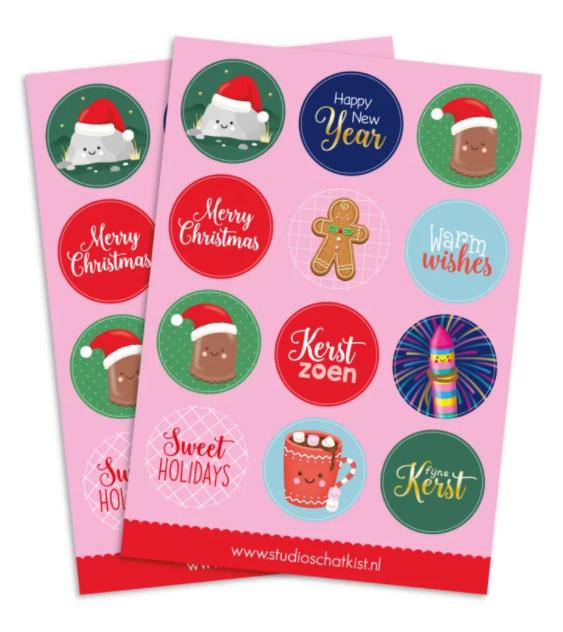 Stickervel  | Kerst (A5) Studio schatkist   12 ronde stickers 40mm