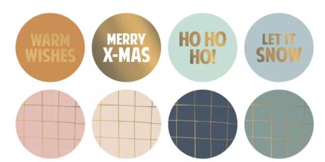 Sticker / Sluitsticker 'Kerst stickers' (Rond 50mm)  8 stuks €0,79