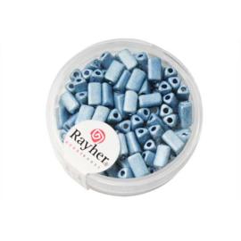 Azuurblauwe metallic triangel 7x3,5 mm rocailles van Rayher