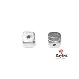 Zilveren kubus 6 mm