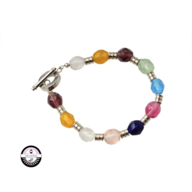 Armband met transparante, gele, roze, groene, lichtblauwe en donkerblauwe glaskralen