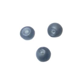 Donkergrijze, ronde matte glaskraal