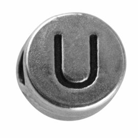 "Silver colored metal letter bead ""U"" from Rayher"