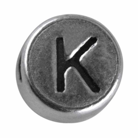 "Silver colored metal letter bead ""K"" from Rayher"