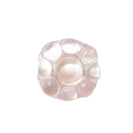 Zalmroze transparante glaskraal in bloemvorm