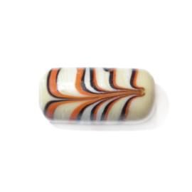 Beige cilinder kraal van glas met bruin/oranje tekening
