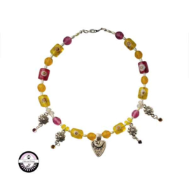 Necklace made with several different yellow and pink beads