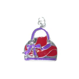 Bag Charm with purple and red, made of metal