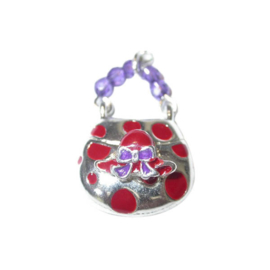 Bag Charm made of metal with red and purple