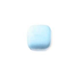 Lichtblauwe vierkante platte glaskraal