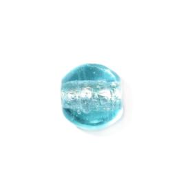 Lichtblauwe, glaskraal met zilverkleurige kern