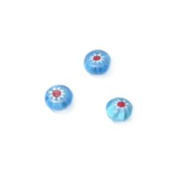 Blauwe glaskraal met sterretje rood/wit
