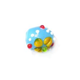 Blauwe, kunstig bewerkte glaskraal met witte, gele, rode en groene puntjes