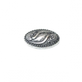 Decorated silver colored bead with metalcoating