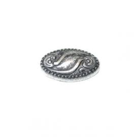 Bewerkte zilverkleurige kraal met metaalcoating