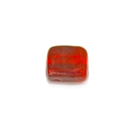 Red, flat, square glass bead
