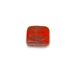 Rode, platte vierkante glaskraal