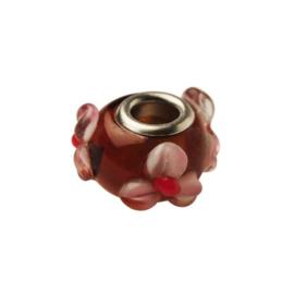 Rode glaskraal met lila en rode dotjes