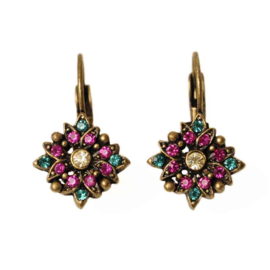 Star-shaped Earrings with pink and green stones