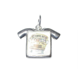 Shirt with photo of a schoolbus charm, made of metal