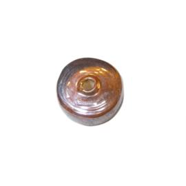 Discusvormige bruine glaskraal met glans