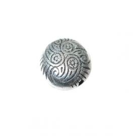 Platte, kunstof kraal met zilverkleurige metaalcoating