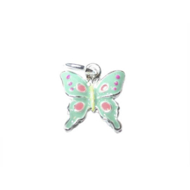 Butterfly charm made of metal with green and pink
