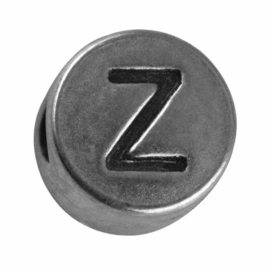"Silver colored metal letter bead ""Z"" from Rayher"