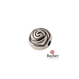 Siver colored metal bead in rose shape