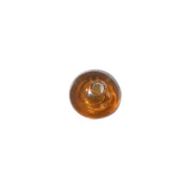 Bruine, discusvormige glaskraal met glans
