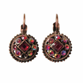 Earrings with red stones