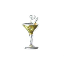 Cocktail bedel van metaal met geel en een klein transparant strass steentje